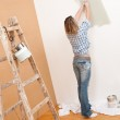 Home improvement: Cheerful woman with paint roller and ladder — Stock Photo #4698745