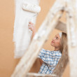 Stock Photo: Home improvement: Wompainting wall with paint roller