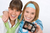 Two young happy woman taking picture — Stock Photo