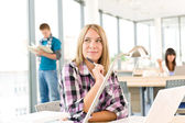 Back to school - toughtful female student — Stock Photo