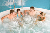 Top view - happy relax in hot tub — Stock Photo