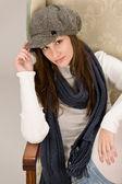 Portrait of fashion model wearing cap — Stock Photo