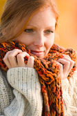 Autumn country sunset - long red hair woman — Stock Photo