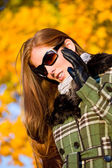 Autumn sunset park - red hair woman fashion — Stock Photo