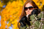 Autumn sunset park - woman fashion in nature — Stock Photo