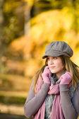 Autumn park - fashion model woman — Stock Photo