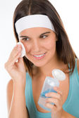 Teenager problem skin care - woman cleanse — Stock Photo