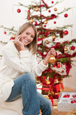 Happy young woman on Christmas — Stock Photo