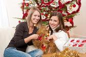 Due donne sorridente con decorazione di natale — Foto Stock