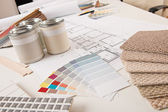 Office of interior designer with paint and color swatch — Stock Photo