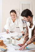 Two interior designer working at office — Stock Photo
