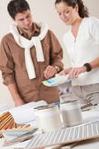 Two interior designer working at office with color swatch — Stock Photo