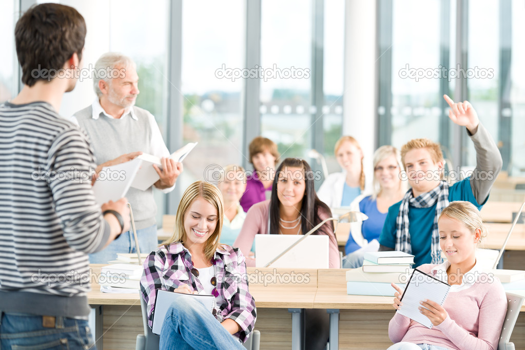 Group Of Students In Classroom Stock Photo