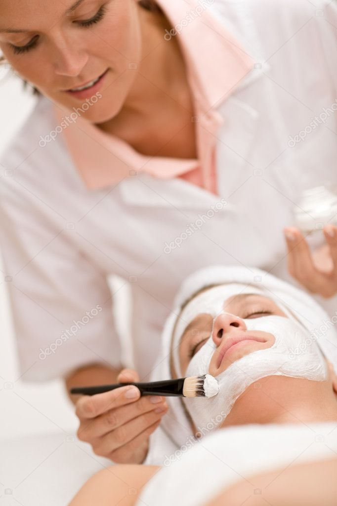 Facial mask - Woman at beauty treatment at luxury spa  Stock Photo #4692882