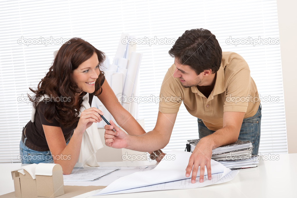 Man and woman at architect office working together — Stock Photo #4695638