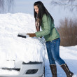 Winter car - woman remove snow from windshield — Stock Photo #4947015