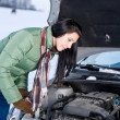 Winter car breakdown - woman repair motor - ストック写真