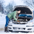 Winter car breakdown - woman repair motor — Stok fotoğraf
