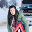 Winter car breakdown - woman warning triangle — ストック写真