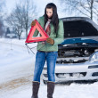 Foto Stock: Winter car breakdown - woman warning triangle