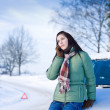 Winter car breakdown - woman call for help — Stock Photo #4947041