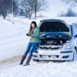 Winter car breakdown - womcall for help — Stok Fotoğraf #4947047