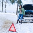 Winter car breakdown - woman call for help — Stock Photo #4947052