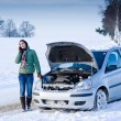 Winter car breakdown - woman call for help - Stock Photo