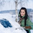 Winter car - woman remove snow from windshield — Stock Photo #4947083