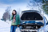 Winter car breakdown - woman call for help — Stock Photo