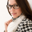 Stock Photo: Designer glasses - winter fashion womportrait