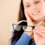 Optician client choose prescription glasses — Stock Photo