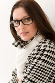 Designer glasses - winter fashion woman portrait — Stock Photo