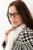 Designer glasses - winter fashion woman portrait — Stock Photo