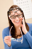 Optician client choose prescription glasses — Stock Photo