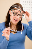 Optician client choose prescription glasses — Foto de Stock