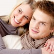 Couple in love - happy relax at home together - Foto Stock