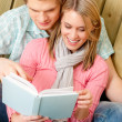 Couple in love - summer portrait with book — Stock Photo