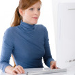 Modern office - young business woman work — Stock Photo