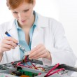 Female support computer engineer - woman repair — Stock Photo