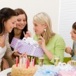 Birthday party - happy woman getting present, champagne — Stock Photo