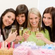 Birthday party - happy woman toast with champagne — Stock Photo