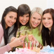 Birthday party - happy woman toast with champagne — Stock Photo #5193343