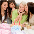 Stock Photo: Birthday party - group of woman celebrate