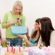 Birthday party - woman getting present — Stock Photo