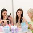 Birthday party - cheerful woman take photo — Stock Photo #5193374