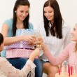 Birthday party - woman toasting with champagne — Stock Photo