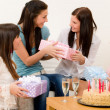 Birthday party - woman getting present, surprise — Stock Photo