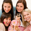 Birthday party celebration - four woman toast with champagne — Stock Photo