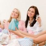 Birthday party - woman unwrap present, celebrate — Stock Photo #5193431